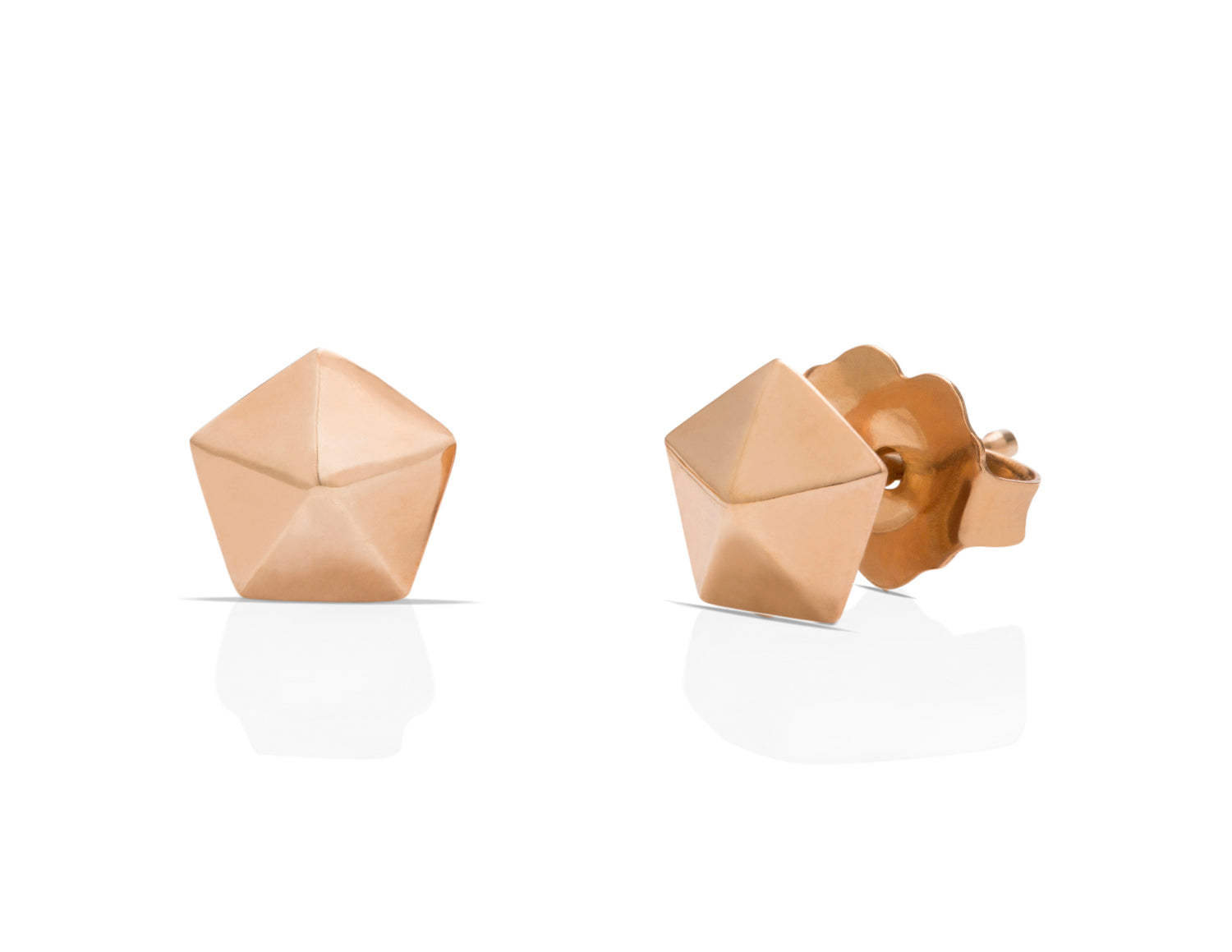 Rose Gold Hexagon Studs - Charles Koll Jewellers