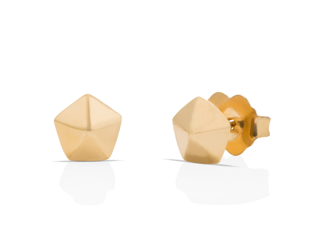 18K Gold Hexagon Studs - Charles Koll Jewellers