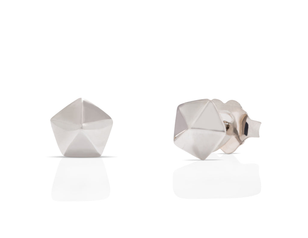 White Gold Hexagon Studs - Charles Koll Jewellers