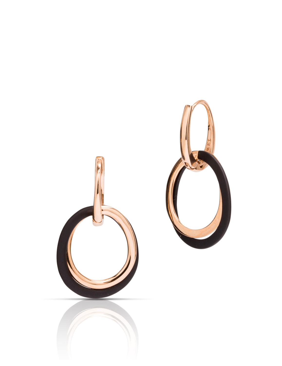 Blackened Steel and Rose Gold Earrings - Charles Koll Jewellers