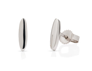 White Gold Oval Stud Earrings - Charles Koll Jewellers