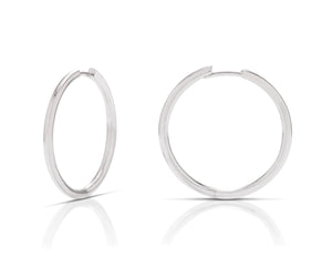 1 Inch White Gold Hoops - Charles Koll Jewellers