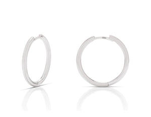 3/4 Inch White Gold Hoops - Charles Koll Jewellers