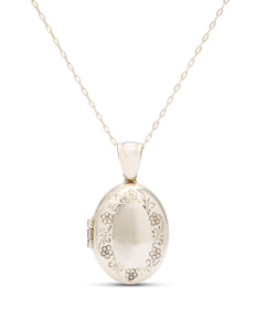 Yellow Gold Engraved Locket - Charles Koll Jewellers