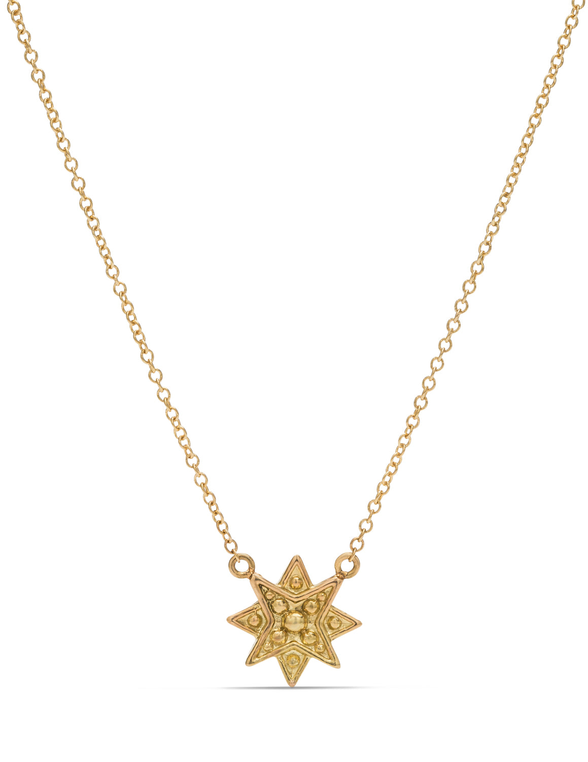 18K Gold Granulated Star Pendant - Charles Koll Jewellers