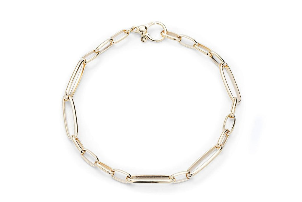 Yellow Gold Mixed Link Bracelet - Charles Koll Jewellers