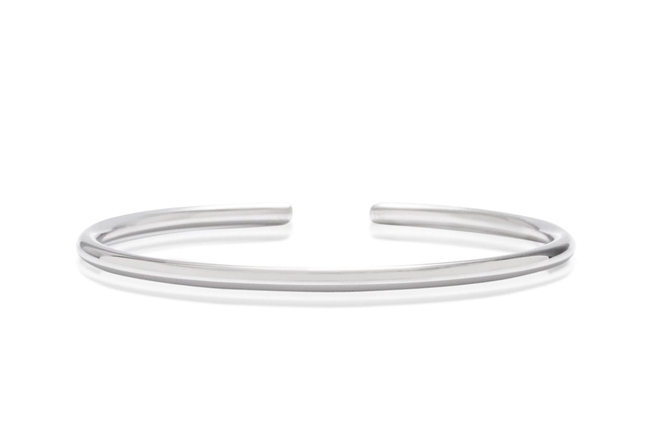 18k White Gold 3mm Bangle - Charles Koll Jewellers