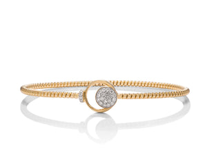 Diamond Accent Yellow Gold Bangle Bracelet - Charles Koll Jewellers