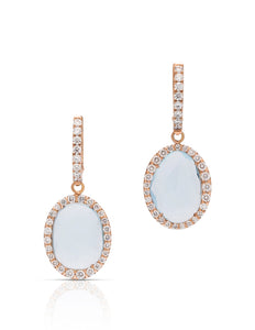 6.3 Carat Aquamarine & Diamond 18k Rose Gold Earrings - Charles Koll Jewellers