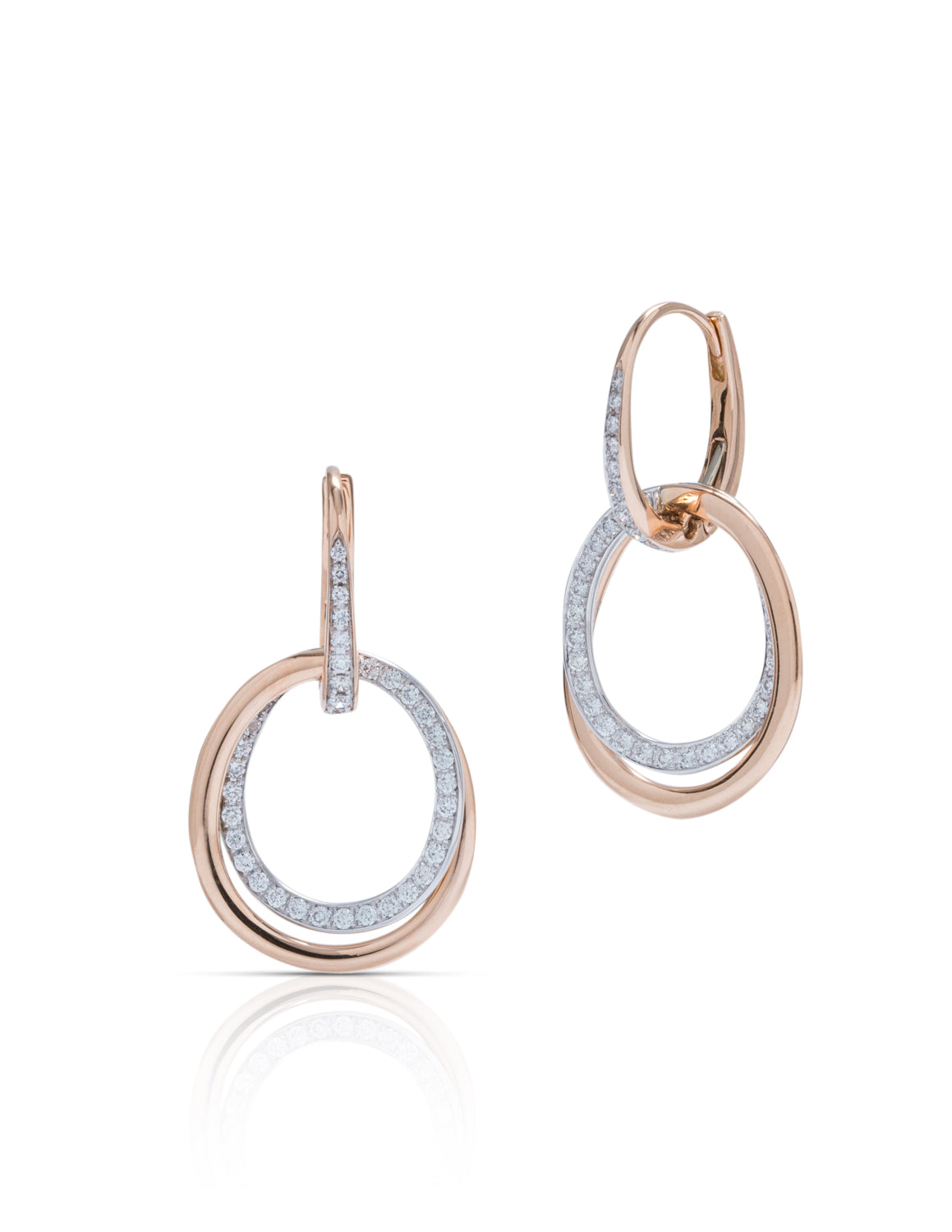 Two-Tone Diamond Circle Earrings - Charles Koll Jewellers