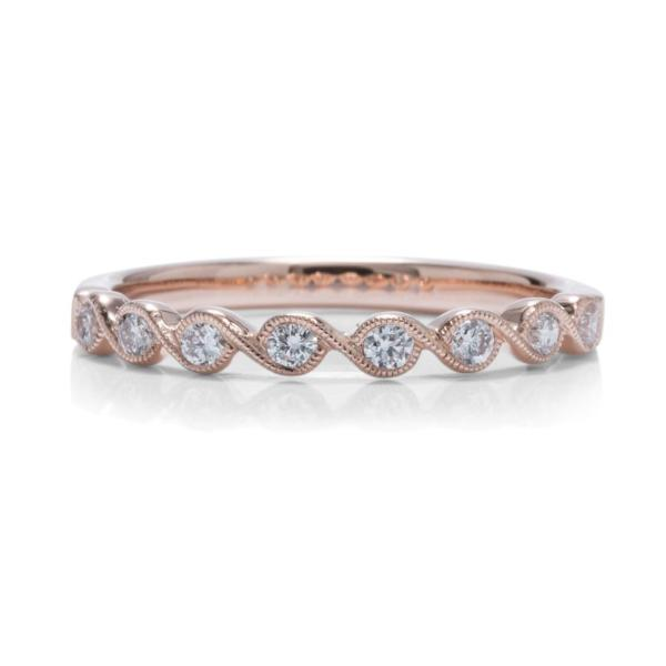 Twisted Bezel Rose Gold Wedding Band - Charles Koll Jewellers