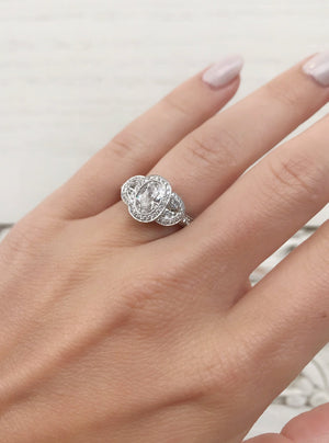Oval Three Stone Engagement Ring - Charles Koll Jewellers