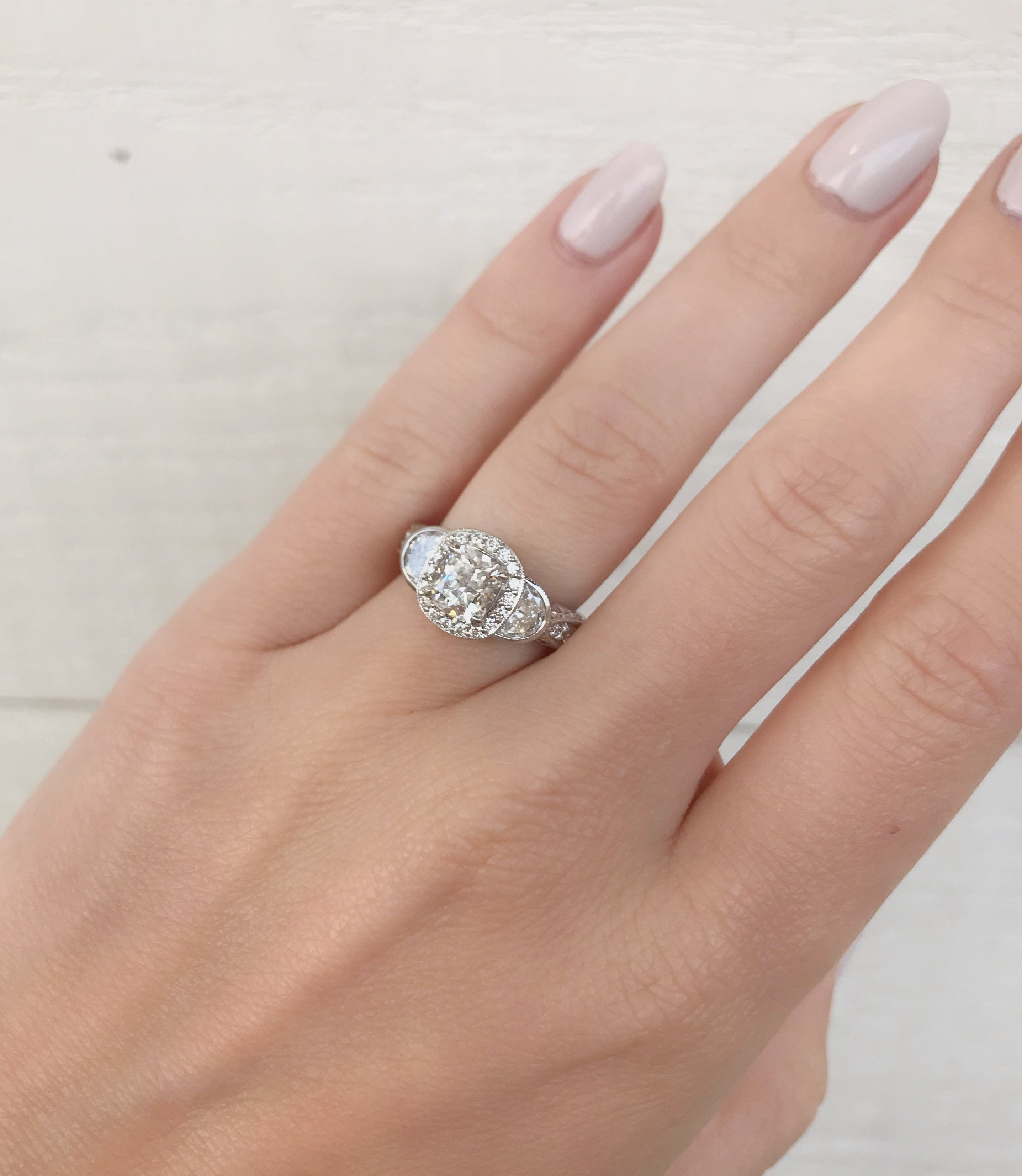 Cushion Three Stone Halo Engagement Ring - Charles Koll Jewellers