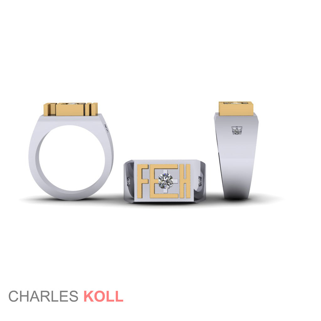 Custom Mens Signet Ring FEH - Charles Koll Jewellers