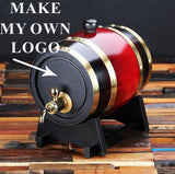 Personalized Barrel with Metal Tap, Groomsmen Gifts, Christmas Gift - Dark Red