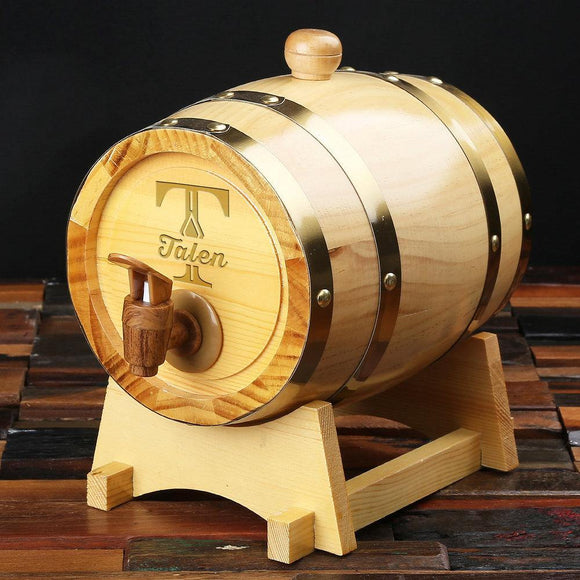 Groomsmen Gifts, Personalized Barrel - Natural Wood - Engravedideas