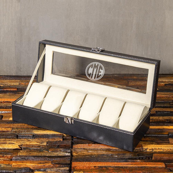Christmas Gift, Personalized Watch Box watch box with 6 slots, Customized Gift - Engravedideas