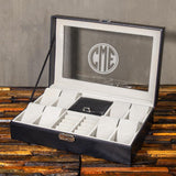 Christmas Gift, Personalized Watch Box 8 watch and 9 jewelry Slots, Customized Gift - Engravedideas