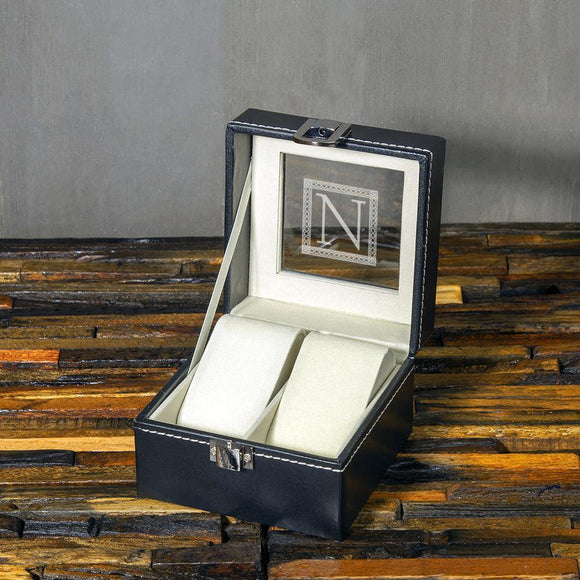 Groomsmen Gift, Personalized Watch box with 2 Slots, Christmas Gift - Engravedideas