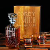 Groomsmen Gifts,  Personalized Whiskey Decanter Set, 1 Decanter + 2 Glasses