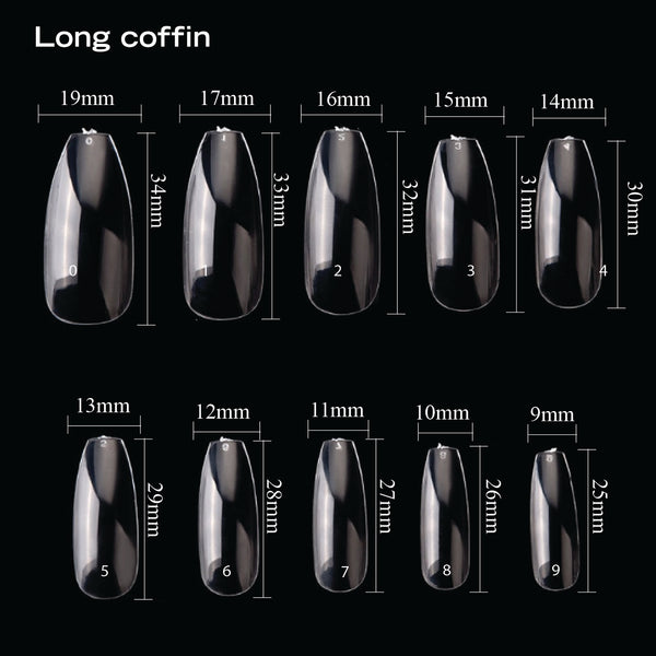 BLANK COFFIN NAIL TIPS 500PCS