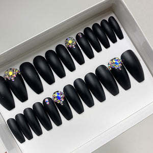DAZZLE SOLID BLACK MATTE CRYSTAL ACCENT LONG COFFIN PRESS ON NAIL SET