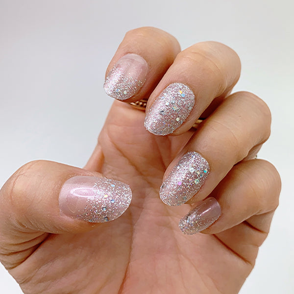 INSTANT GLAM- LOVE GLITTER - SHORT OVAL PRESS ON NAIL SET