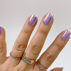 INSTANT GLAM- VIOLET CHROME - SHORT SQUARE PRESS ON NAIL SET