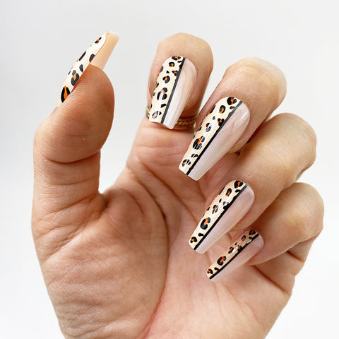 INSTANT GLAM- HALF KITTY - MEDIUM COFFIN PRESS ON NAIL SET