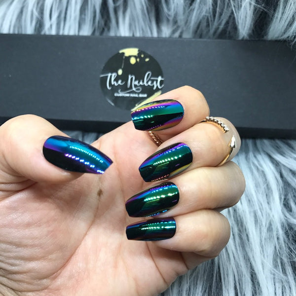 INSTANT GLAM- GREEN PEACOCK CHROME FULL SET