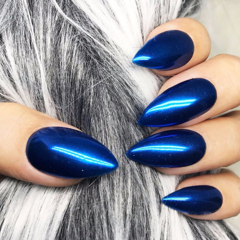 HANDMADE- BLUE MIRROR CHROME PRESS ON NAIL SET