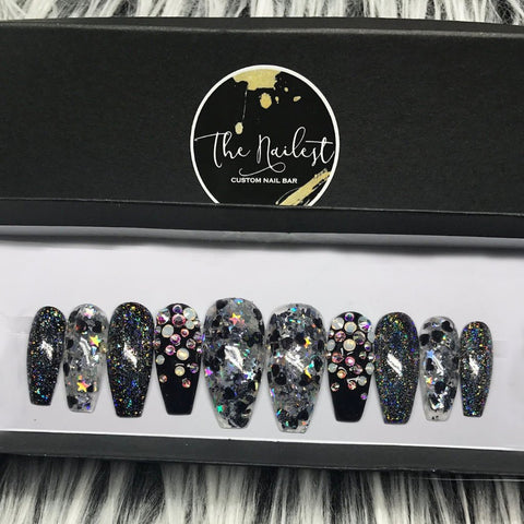 BLACK STARBURST GLITTER SET
