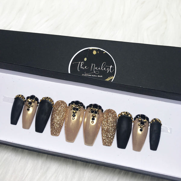 HANDMADE- 24K GOLDILOCKS GOLD CHROME MATTE BLACK CRYSTAL BLING