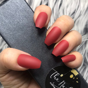 INSTANT GLAM- SOLID MATTE RUBY RED COFFIN SET