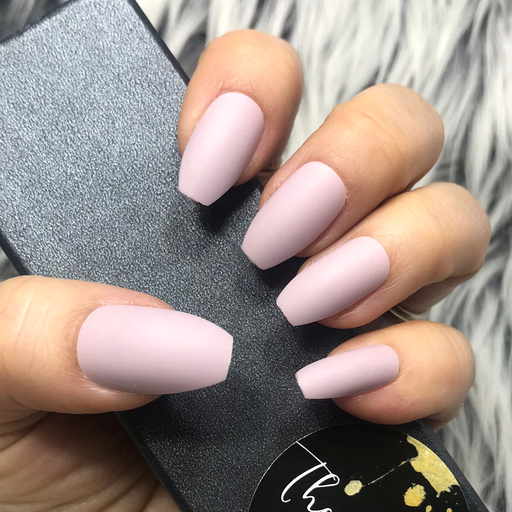 Instant Glam Solid Matte Lavender Coffin Set The Nailest