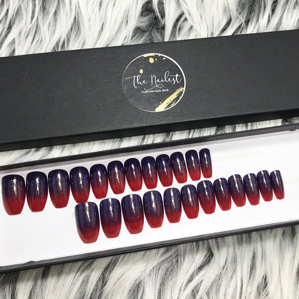 INSTANT GLAM- XENA - RED BLUE OMBRE SET