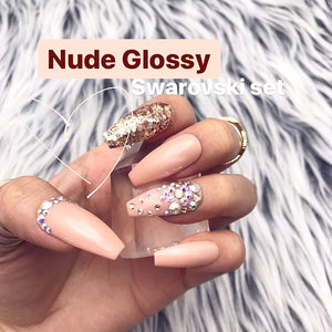 HANDMADE- GLOSSY NUDE GOLD CRYSTAL PRESS ON NAIL SET