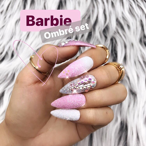 HANDMADE- PINK BARBIE: PINK OMBRE GLITTER CRYSTAL BLING