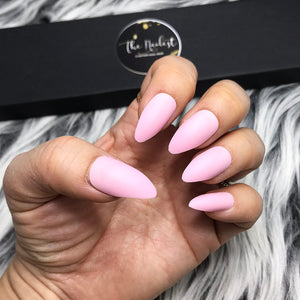 INSTANT GLAM-SOLID MATTE BABY PINK STILETTO SET