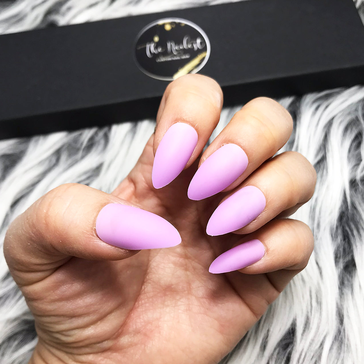 INSTANT GLAM-SOLID MATTE BABY PURPLE STILETTO SET