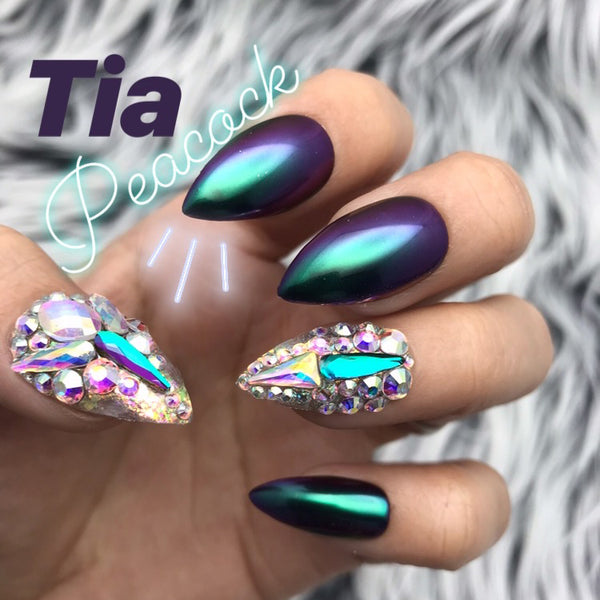HANDMADE- TIA! PEACOCK GLOSSY CHAMELEON CHROME IRIDESCENT FOIL FLAKES W/BING CRYSTAL ACCENTS
