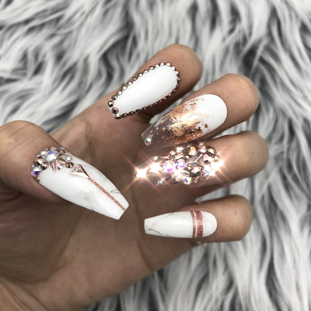 Rose Gold Marble Detailed Crystals Set The Nailest