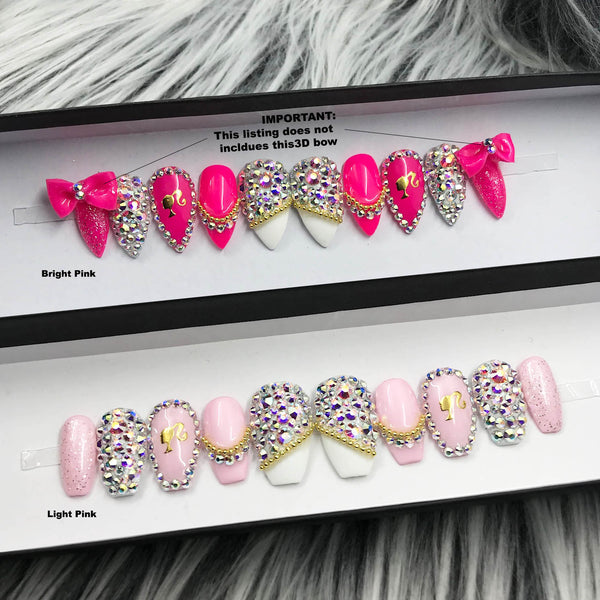ROYAL PINK BARBIE SET PRESS ON NAILS