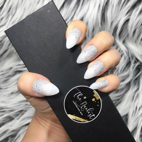 INSTANT GLAM- BRIDE CLEAR WHITE GLITTER OMBRE SET