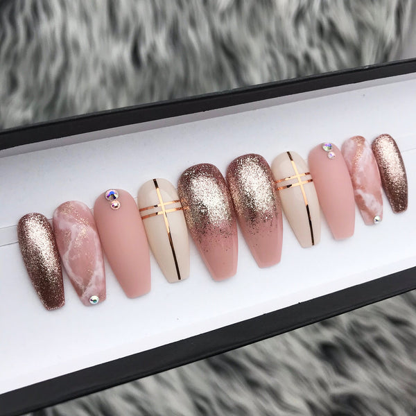 HANDMADE- LOVE AFFAIR ROSE GOLD FOIL OMBRE MATTE PINK MARBLE W/ BLING ACCENT