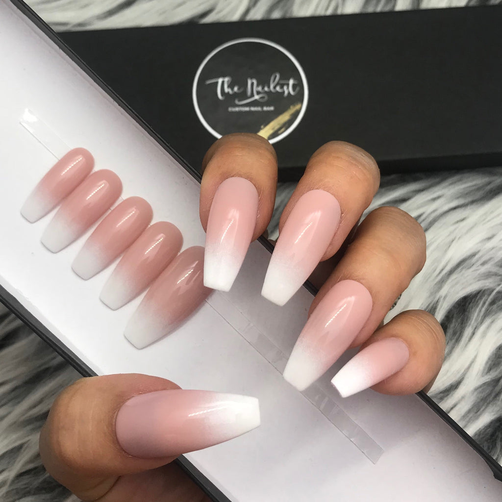 Pink And White Ombre Almond Shaped Nails