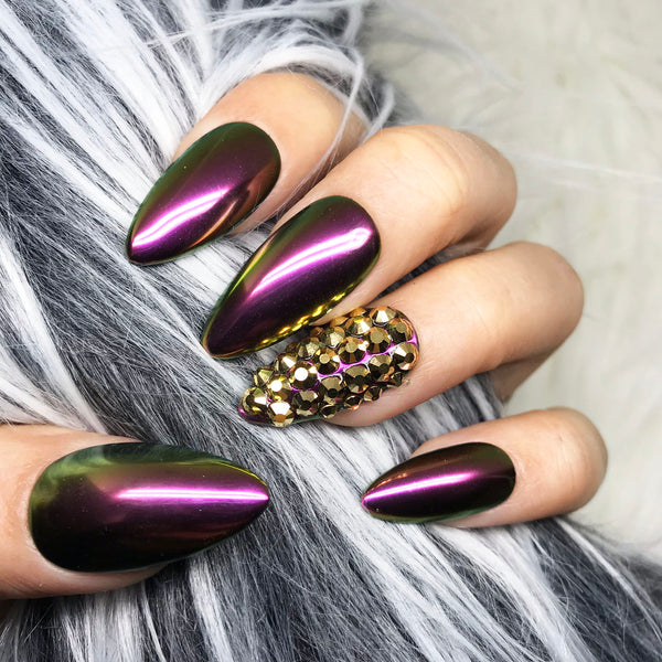 ROSE BURGUNDY GOLD CHROME PRESS ON NAIL SET