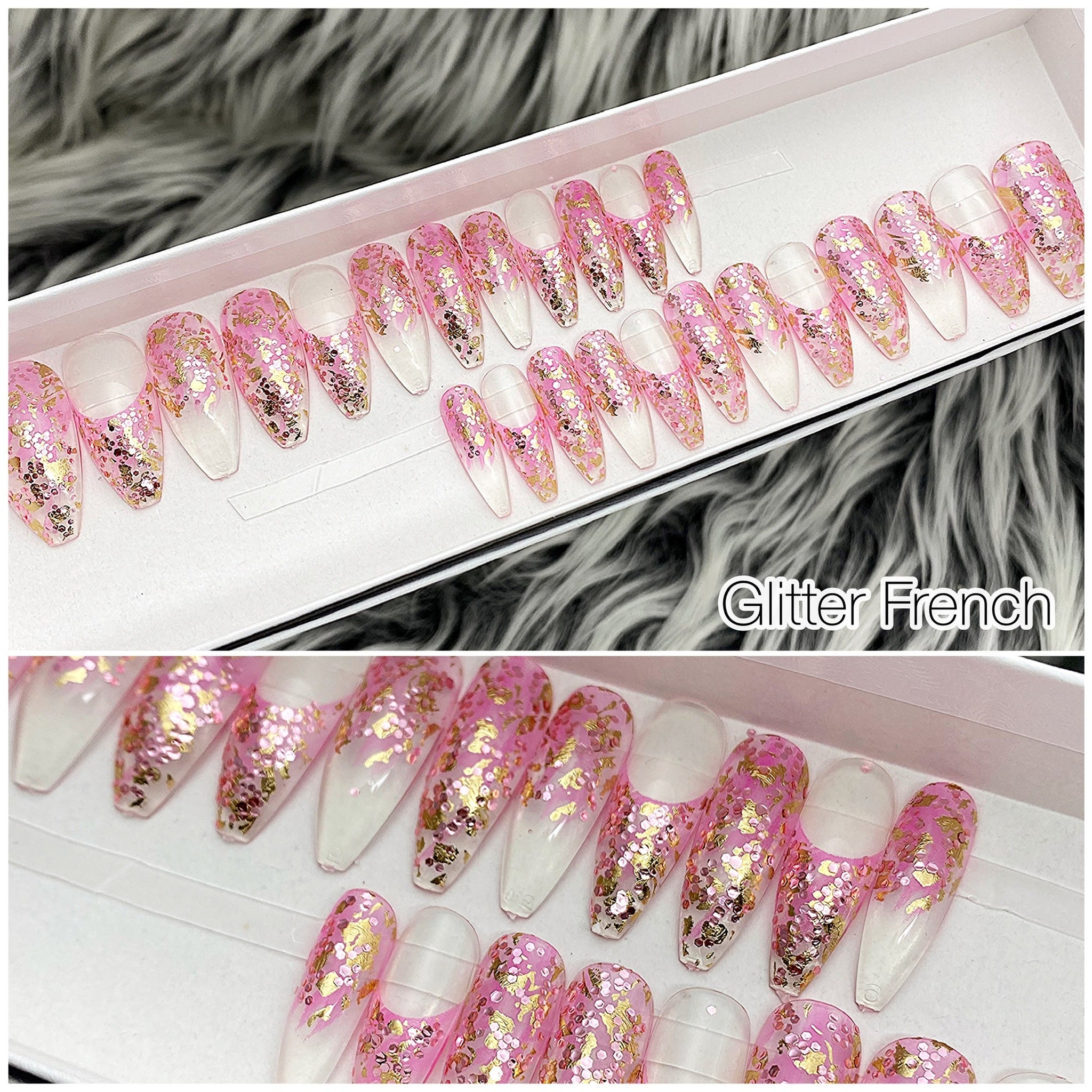 INSTANT GLAM- PINK GLITTER FRENCH TAPERED LONG COFFIN PRESS ON NAIL SET