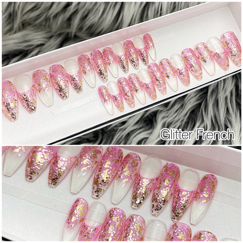 INSTANT GLAM- PINK GLITTER FRENCH TAPERED COFFIN PRESS ON NAIL SET