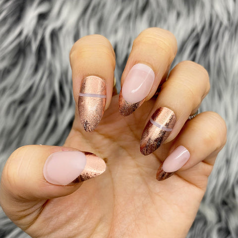 INSTANT GLAM- FRANCES ROSE GOLD FRENCH PRESS ON NAIL SET